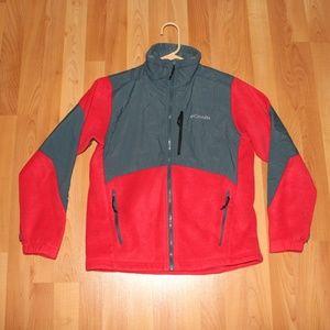 Columbia Kids Jacket Sz L 14/16 Red Fleece Zip Up